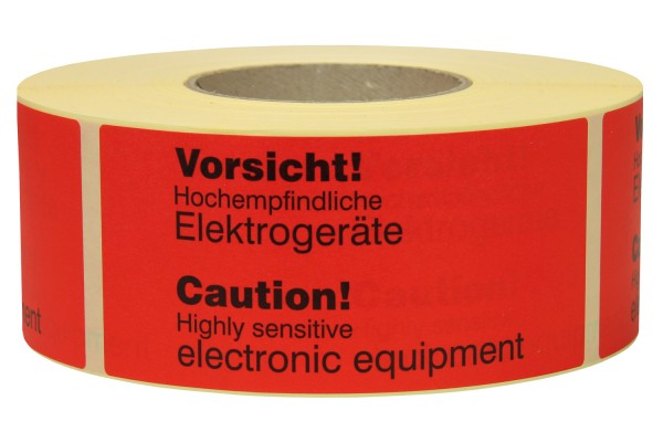 "Warnetiketten aus Papier, rot, ""Sensitive electronic equipment"""""